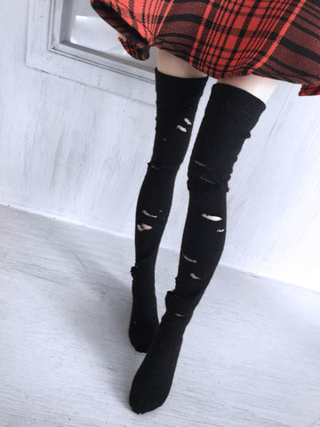 Distressed black ripped thigh high socks for MSD Ready to Ship - Monstro Designs
