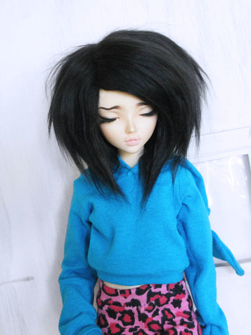 "6 or 7"" black Shoulder length fake fur BJD wig READY to SHIP - Monstro Designs"