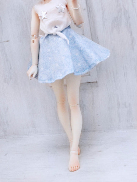 Starry Blue sky high waist circle skirt for Minifee Ready to Ship - Monstro Designs