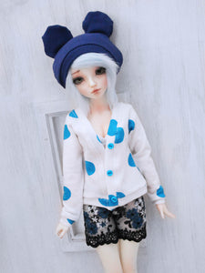 Blue polka dot cardigan for Mini Super Dollfie ready to ship - Monstro Designs