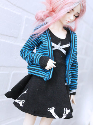 Blue stripe cardigan for Mini Super Dollfie ready to ship - Monstro Designs