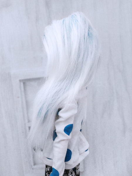 "6 or 7""  Turquoise to white tip long in front fake fur wig for dolls ready to ship - Monstro Designs"
