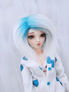 "6 or 7"" Turquoise to white tip Shoulder length fake fur BJD wig READY to SHIP - Monstro Designs"