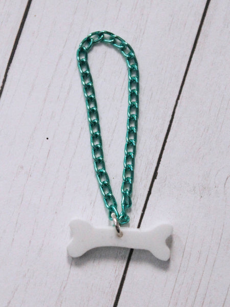 Bone with green chain necklace for BJD dolls by MonstroDesigns - Monstro Designs