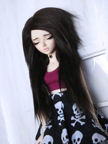 "6 or 7"" Dark brown long in front fake fur wig for Ball Jointed Dolls Ready to Ship - Monstro Designs"