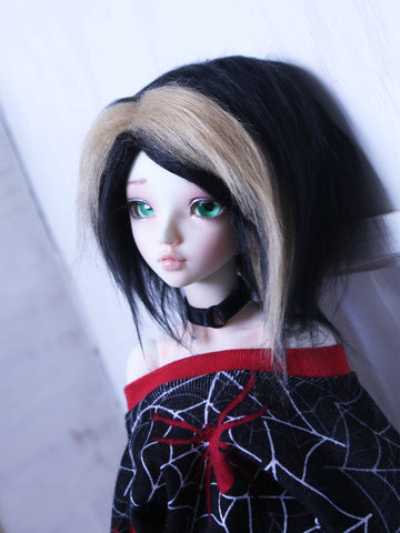 "6"" black and blonde chunk Shoulder length fake fur BJD wig READY to SHIP - Monstro Designs"