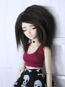 "6 or 7"" Dark brown Shoulder length fake fur BJD wig Ready to Ship - Monstro Designs"
