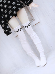 White checkered print thigh high socks for BJD dolls - Monstro Designs
