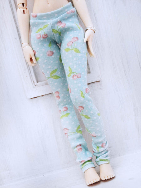 Mint Cherry print leggings for Slim MSD by MonstroDesigns READY to SHIP - Monstro Designs