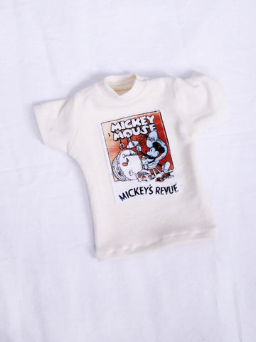 One of a kind Mickey revue patch cream oversized boyfriend t shirt for Male BJD MSD ready to ship - Monstro Designs