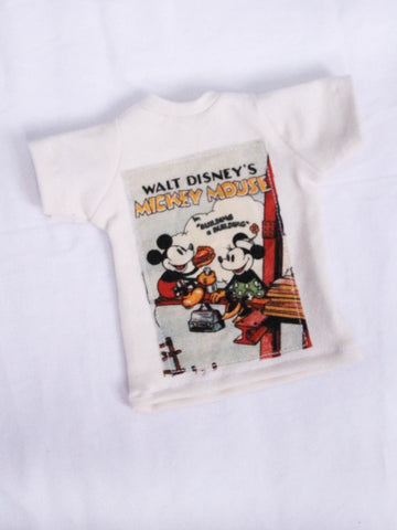 One of a kind Mickey and Minnie lunch patch cream oversized boyfriend t shirt for Male BJD MSD ready to ship - Monstro Designs