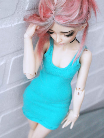Dark Mint tank top body con dress for BJD dolls ready to ship - Monstro Designs