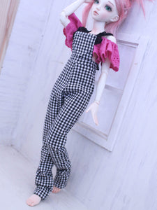 One of a kind gingham overalls for Minifee dolls - Monstro Designs