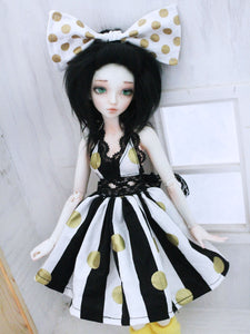Beeatrice golden dots and stripes lace dress for Minifee READY to SHIP - Monstro Designs