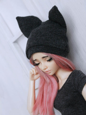 Grey heather kitty cat beanie for MSD dolls by MonstroDesigns Ready to Ship - Monstro Designs