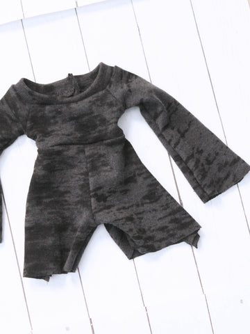 FLASH SALE Grey with burnout distress shorts Romper Ready to Ship by MonstroDesigns - Monstro Designs