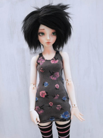 Grey floral tank top body con dress for BJD dolls ready to ship - Monstro Designs