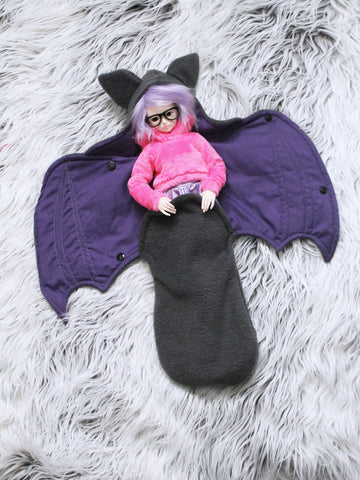 Grey with purple Bat Wrap For MSD sized Ball Jointed Dolls ready to ship - Monstro Designs