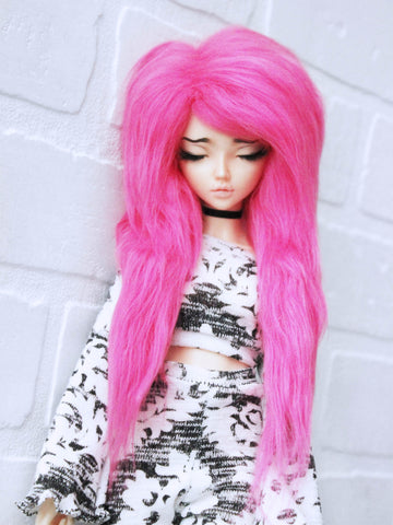"6 or 7"" Hot Pink long in front fake fur wig by monstrodesigns ready to ship - Monstro Designs"