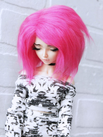 "6 or 7"" Hot Pink shoulder length fake fur wig for Minifee ready to ship - Monstro Designs"