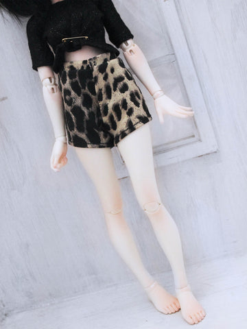 Golden Leopard print high waist shorts for Minifee - Monstro Designs