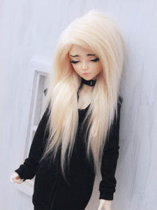 "6 or 7"" Light blonde long in front fake fur wig - Monstro Designs"