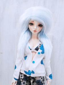 "6 or 7""  Light Blue long in front fake fur wig for dolls ready to ship - Monstro Designs"