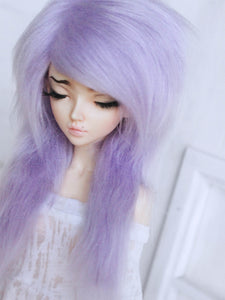 "7"" Lilac purple long in front fake fur wig for Ball Jointed Dolls ready to ship - Monstro Designs"