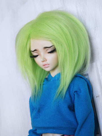 "7"" Lime Green shoulder length fake fur wig for MSD dolls READY to SHIP - Monstro Designs"