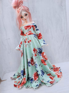 Mint Floral print bell sleeve leaf edge maxi dress for MSD dolls Ready to Ship - Monstro Designs