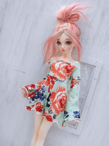 Mint Floral print shorts romper for Minifee dolls - Monstro Designs
