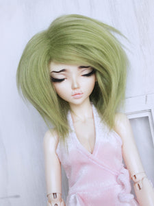 "6 or 7"" Moss Green Shoulder length fake fur BJD wig READY to SHIP - Monstro Designs"