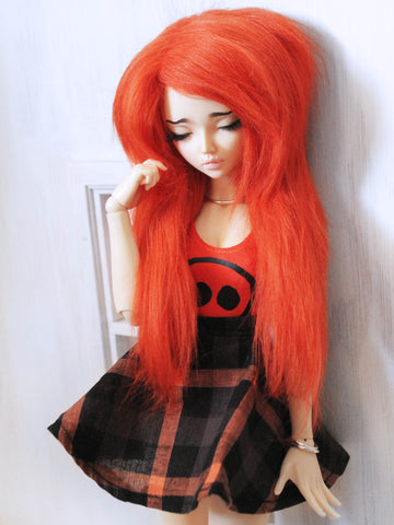 "6 or 7"" Orange long in front fake fur wig for Ball Jointed Dolls Ready to Ship - Monstro Designs"