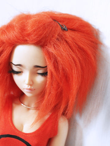 "6 or 7"" Orange Shoulder length fake fur BJD wig READY to SHIP - Monstro Designs"