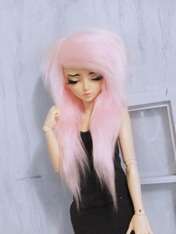 "6 or 7""  Light pink long in front fake fur wig for dolls Ready to Ship - Monstro Designs"