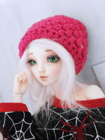 "Pink Crochet beanie for 6-7"" MSD dolls by MonstroDesigns READY to SHIP - Monstro Designs"