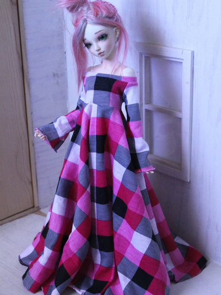 The Maxine pink checkered bell sleeve leaf edge maxi dress for MSD dolls - Monstro Designs