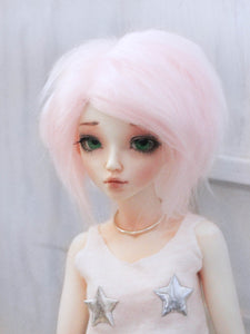 "6"" or 7"" Light pink chin length fake fur BJD wig READY to SHIP - Monstro Designs"