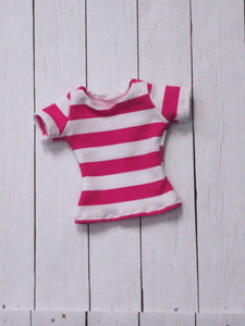 FLASH SALE Dark Pink and white stripe t shirt for Slim MSD ready to ship - Monstro Designs