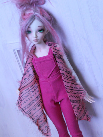 The Paula vest Pink bohemian print halter vest for Slim MSD dolls - Monstro Designs