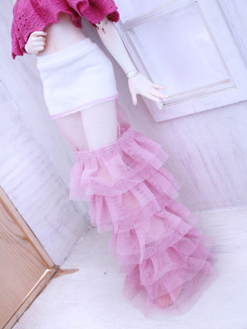 Pink ruffles lace under skirt for Minifee Ready to Ship - Monstro Designs