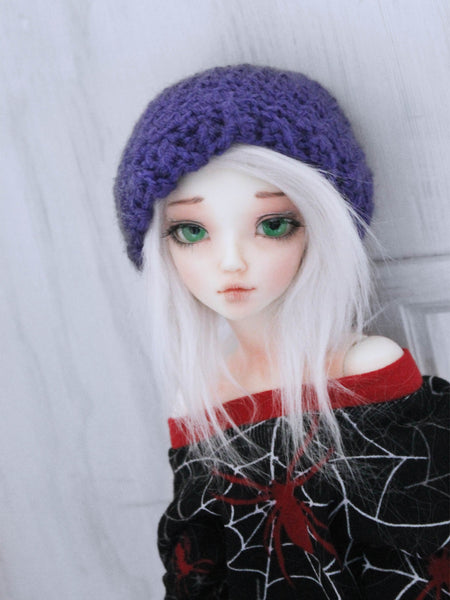 "Purple scallop Crochet beanie for 6-7"" MSD dolls by MonstroDesigns READY to SHIP - Monstro Designs"