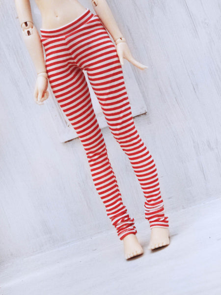 Red stripe print leggings for Ball Jointed Dolls by MonstroDesigns READY to SHIP - Monstro Designs