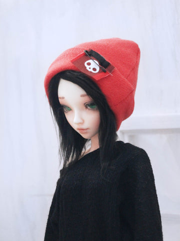 "Red rolled beanie with skull patch for 6-7"" MSD dolls by MonstroDesigns READY to SHIP - Monstro Designs"