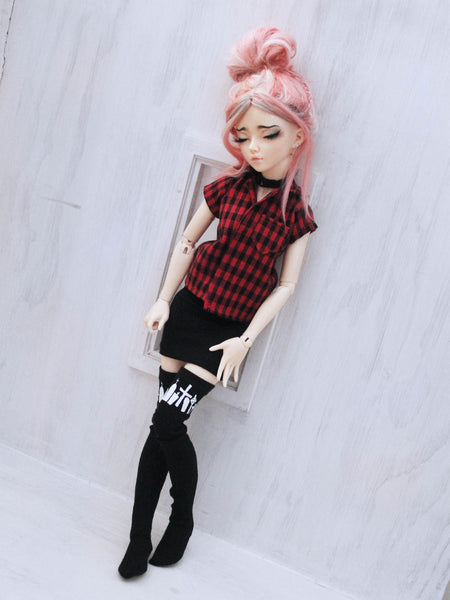 Red plaid collared short sleeve pocket top for Minifee dolls - Monstro Designs