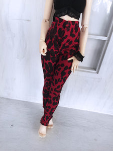 Red leopard print high waisted pants for Slim MSD dolls - Monstro Designs