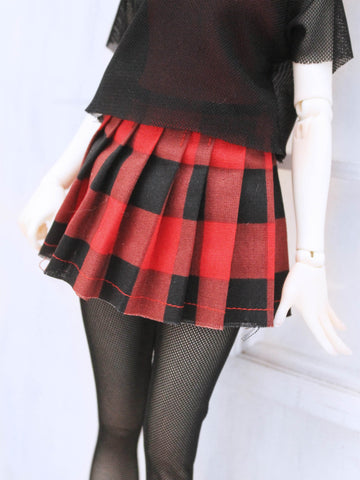 Red plaid pleated skirt for Minifee Ready to Ship - Monstro Designs