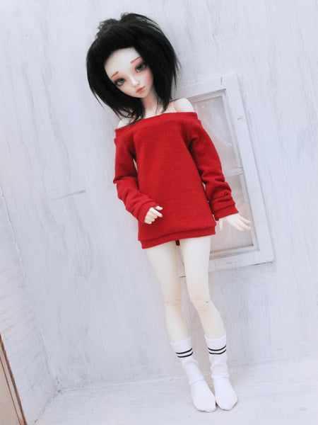 Red off the shoulder sweater for MSD dolls - Monstro Designs
