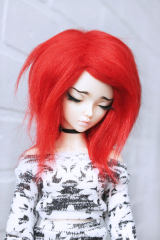 "7"" red shoulder length fake fur wig for MSD Ready to Ship - Monstro Designs"