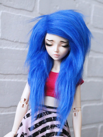 "6 or 7"" Royal Blue long in front fake fur wig by monstrodesigns READY to SHIP - Monstro Designs"